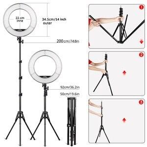 Image 4 - Travorリングライト 14 インチリングランプ調光対応コールドとウォームライトledライト三脚youtubeのメイク写真撮影をリングライト