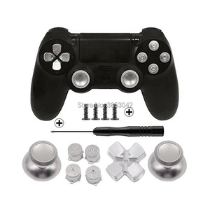 Image 3 - Metal Buttons Set Chrome Analog Thumbsticks For Playstation 4 D Pad for PS4 Controller Joystick Repair Game Accessories
