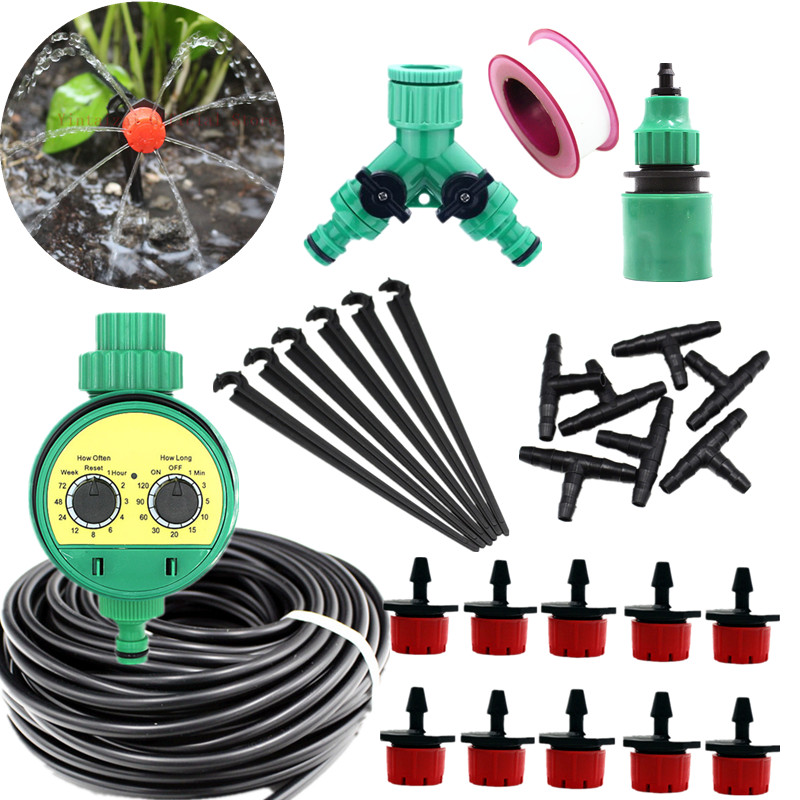 """5-40m Automatic Watering Kits Adjustable Dripper With 1/4"""" Microtubing 2-Ways Hose Splitter Garden Watering Tools Drip Fittings"""