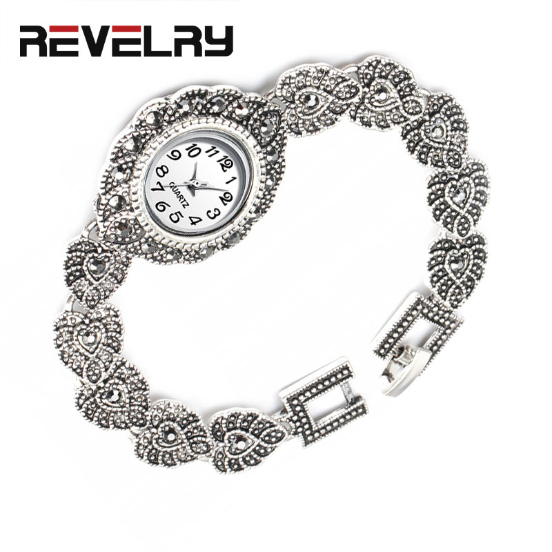 REVELRY New Fashion Designer Antique Silver Bangles Crystal Bracelet Quartz Wristwatch For Women Vintage Jewelry Watch Ladies