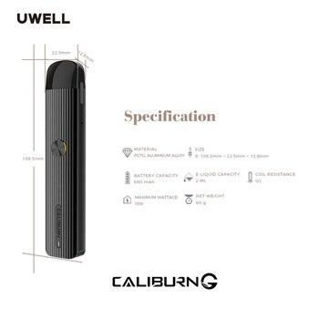 Uwell – Kit de vapotage avec système de dosettes Caliburn G, batterie 690mAh et cartouche de dosette 2ml, stylo à Cigarette électronique, VS minifit, Original