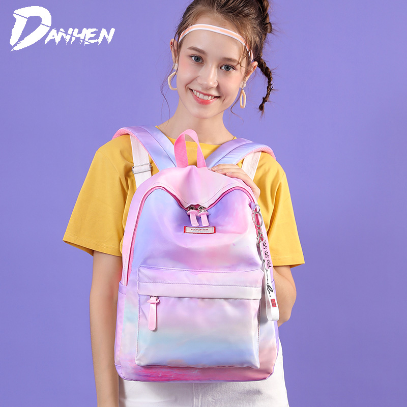 Cute Waterproof Backpacks Nylon School Bags for Girls Colorful Young Women Backpack Lightweight Travel Bag with Big Capacity in Backpacks from Luggage Bags