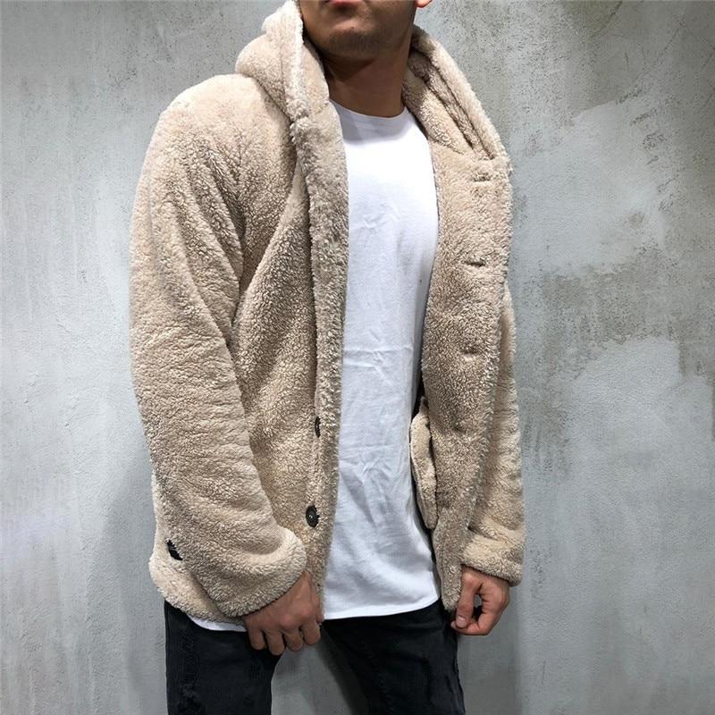 Luxury Men's Sweater Warm Hooded Sweater Coat Jacket Men's Autumn Winter Casual Loose Double-sided Plush Men's Sweater Coat Top