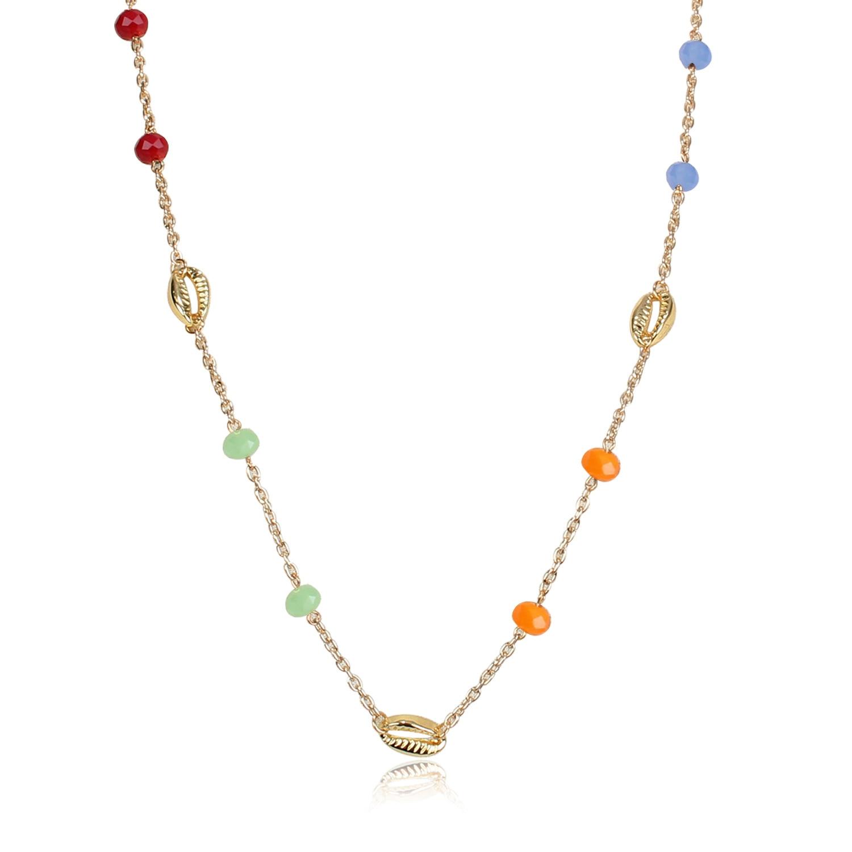 Style de mode, coquille en métal simple, lien de perle de verre, collier de mélange et match, vente directe aux fabricants de femmes