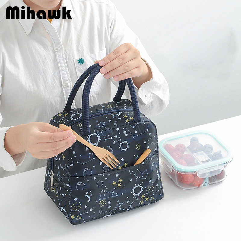 Mihawk Thermal Insulation Bag Portable Food Container Bento Travel Picnic Bags Thermo Bag For Dinners Lunch Tas Drink Tote Stuff