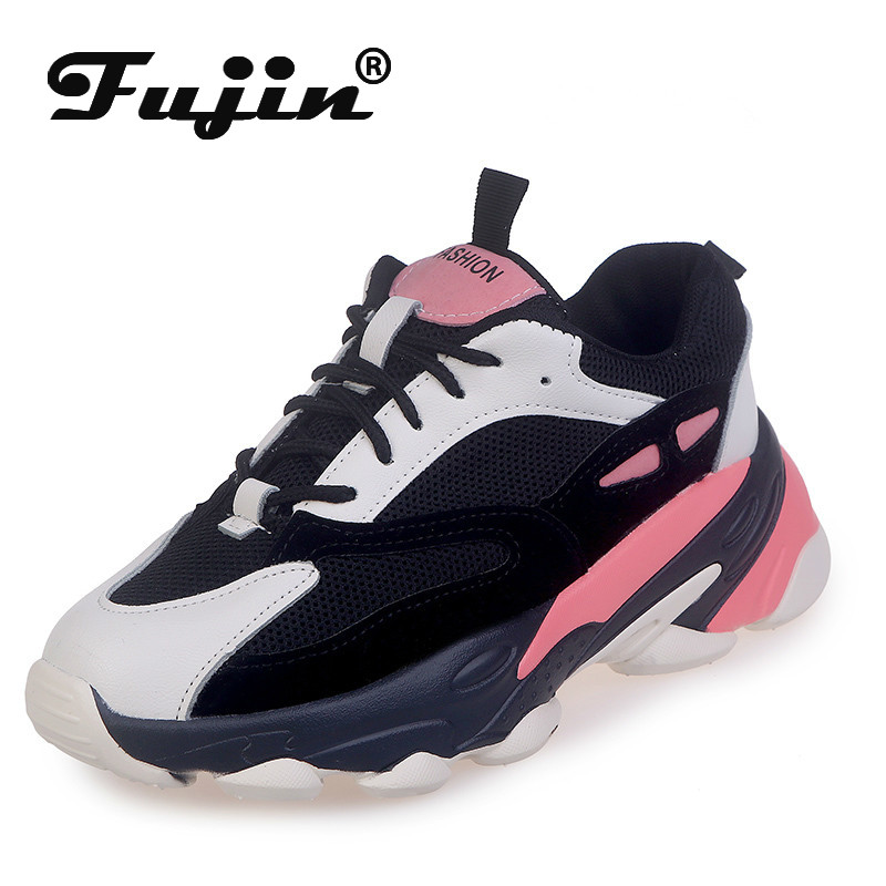 Fujin Leisure Women Shoes Sneakers Women Autumn Muffin Bottom Fashion Dropshipping Breathable Cross Tied Lace Thick Bottom Shoes