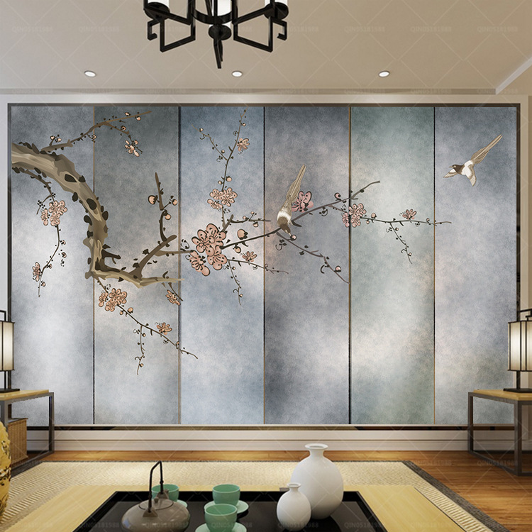 3D New Chinese Style Retro Beaming Plum Flowers And Birds TV Background Wallpaper Living Room Bedroom Tea Room Wallpaper Mural