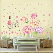 Растения цветы девушка Наклейка на стену гостиная спальня детская