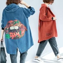 Для женщин; сезон весна-осень; модный бренд в Корейском стиле Винтаж из смешанных материалов, джинсовая куртка женская с капюшоном Повседневное более Размеры длинное пальто куртка