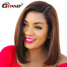 13x6 Gossip Indian Remy Hair Straight Short Wigs For Black W
