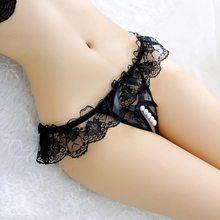Artı boyutu dantel külot kadınlar seksi şeffaf iç çamaşırı inci masaj Culotte Femme açık Crotch Thongs seks ürünleri