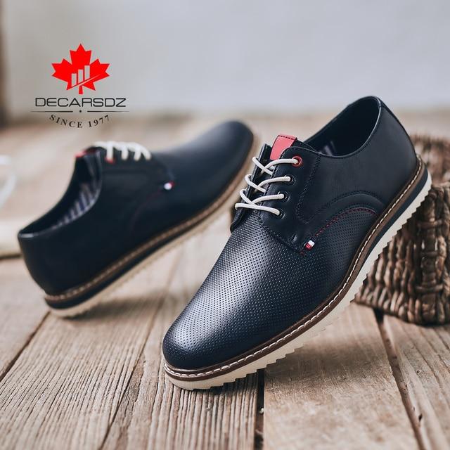 Giày Casual Nam Nam Thời Trang Phối Ren 2020 Xuân & Thu Thoải Mái Da Cao Cấp Sang Trọng Nam Người Đàn Ông Phong Cách Doanh Nhân chaussure Homme