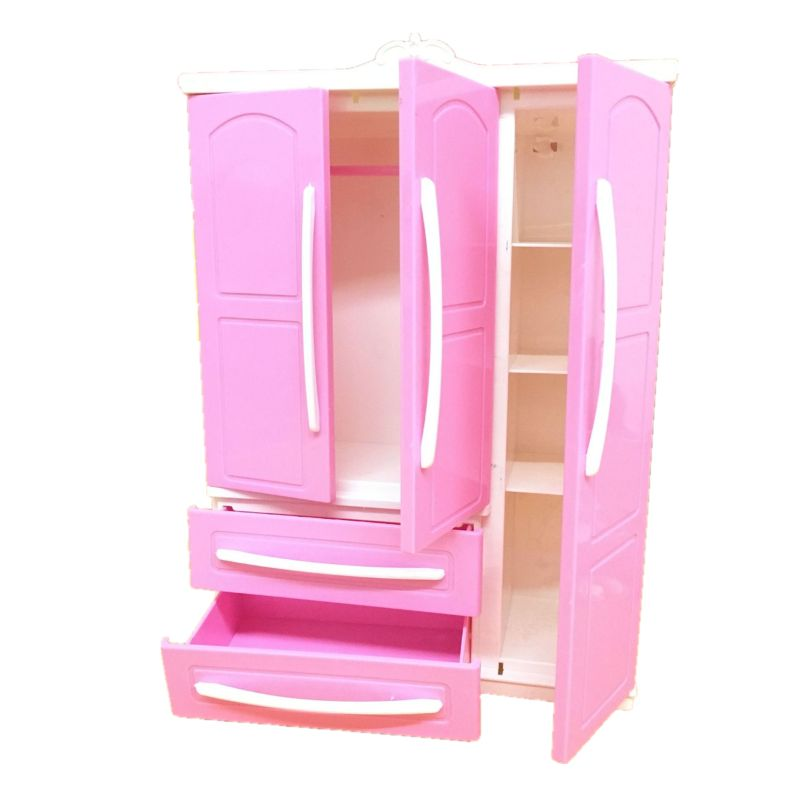 Three-door Pink Modern Wardrobe Play Set For Barbi Furniture Can Put Shoes