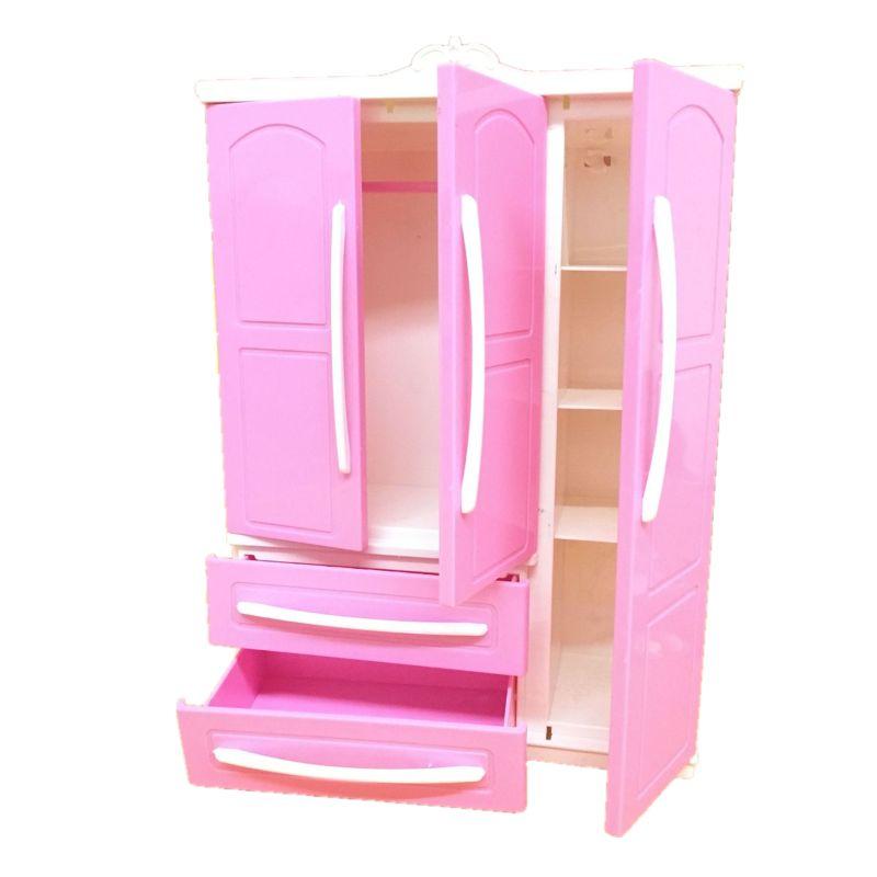 Three-door Pink Modern Wardrobe Play Set For Barbi Furniture Can Put Shoes