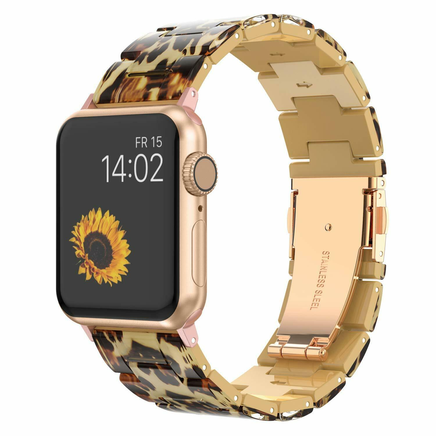 Replacement Leopard Print Band For Apple Watch Series 5 2 3 4 38/42mm Polishing Resin Bracelet Wrist Band Strap image