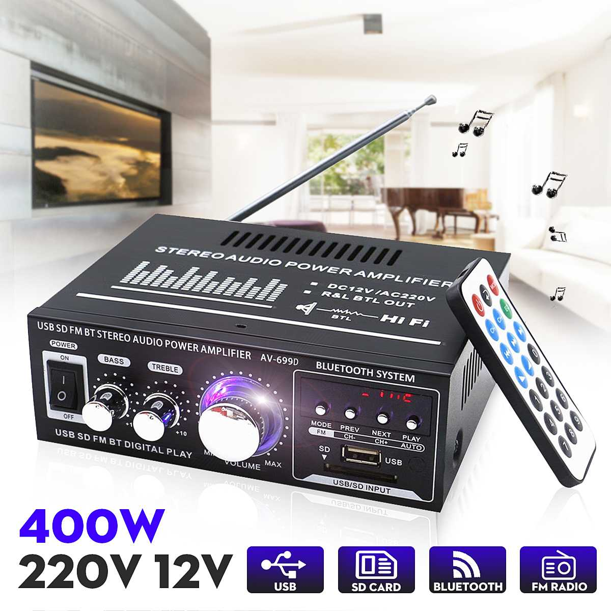 400W 2Chanel LED Display Home bluetooth <font><b>Amplifier</b></font> Mini <font><b>HiFi</b></font> Stereo Power Home Theater <font><b>Amplifier</b></font> Support USB Memory Card FM Radio image