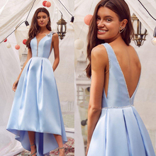 High Low Evening Dresses V Neck Floral Appliqued Beaded Sleeveless Prom Dress Backless Ruffle Custom Made Sky Blue Formal Gown dress free shipping 2013 open leg custom size color sexy evening formal prom gown sweet beauty pageant ruffle dress new high low