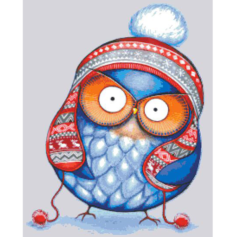 Top Quality Popular Counted Cross Stitch Set Winter Hat Owl Angry Owl Cute Blue Bird Lovely HAEANK-2276