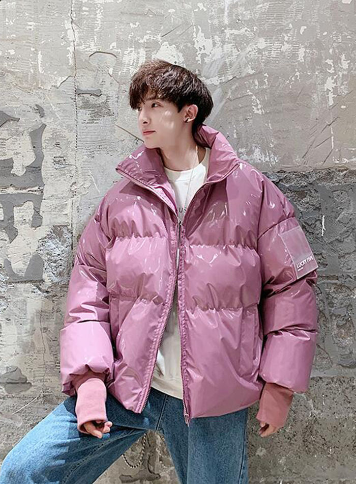 Fashion thickening plus velvet stand collar bright leather loose short coat men and women wear couple winter clothes 10