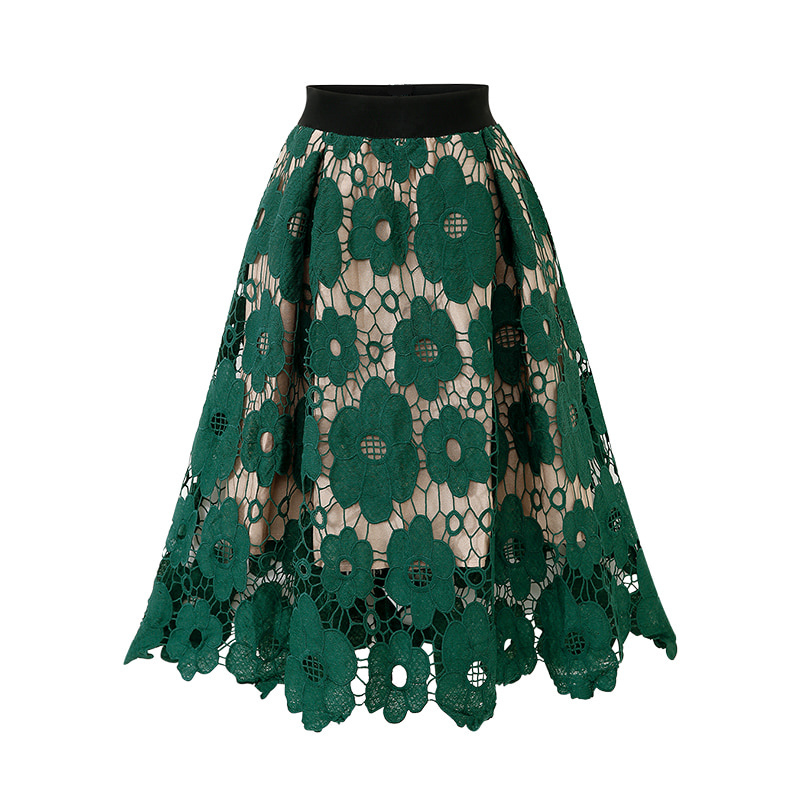 Chic Spring Summer <font><b>Skirts</b></font> Womens Elasticity High Waist Lace Hollow <font><b>Sexy</b></font> Midi <font><b>Skirt</b></font> 2020 Green Black <font><b>Skirts</b></font> Womens <font><b>Plus</b></font> <font><b>Size</b></font> image