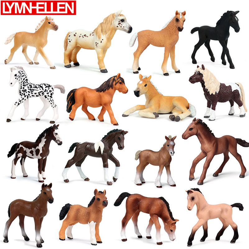 New Simulation Wild Animal Pony Series Model Solid  Horse Action Figure Home Decoration Children Collection Lifelike Toys Gifts