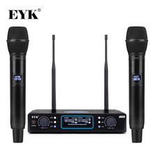 EYK E100 UHF Fixed Frequency 2 Channels Wireless Microphone System Dual Handheld Mic Long Range for KTV Karaoke Family Party