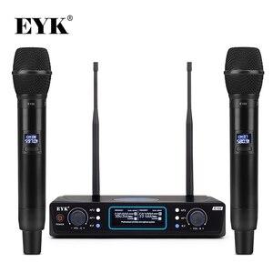 Image 1 - EYK E100 UHF sabit frekans 2 kanal kablosuz mikrofon sistemi çift el mikrofon için uzun menzilli KTV Karaoke aile partisi