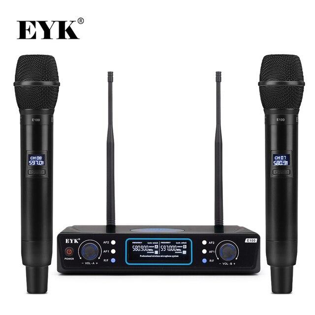 EYK E100 UHF sabit frekans 2 kanal kablosuz mikrofon sistemi çift el mikrofon için uzun menzilli KTV Karaoke aile partisi