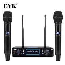 Eyk e100 uhf freqüência fixa 2 canais sistema de microfone sem fio duplo handheld microfone longa distância para ktv karaoke festa da família
