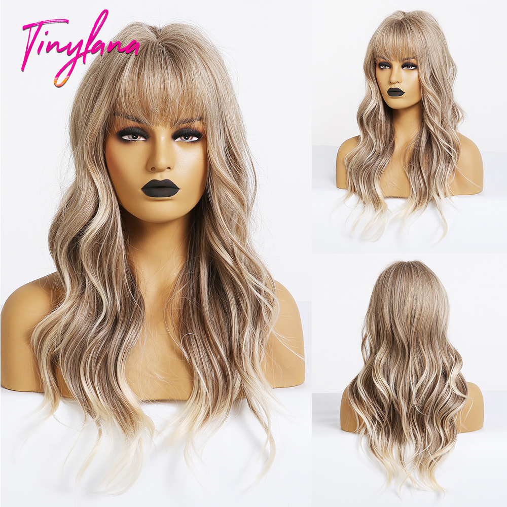 TINY LANA  Synthetic Wig Light Ash Brown Blonde Wig For Women Long Wavy Wigs With Bangs For Women Lolita Cosplay Costume Wigs