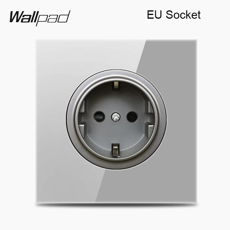Wallpad L6 Grey Glass EU French UK Wall Power Socket Universal TV Antenna Computer Data Double RJ45 Outlet