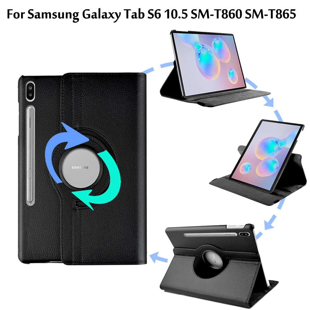 360 Degree Rotating Case For Samsung Galaxy Tab S6 10.5 SM-T860 SM-T865 2019 10.5 Case Litchi Pattern Leather Flip Stand Cover image