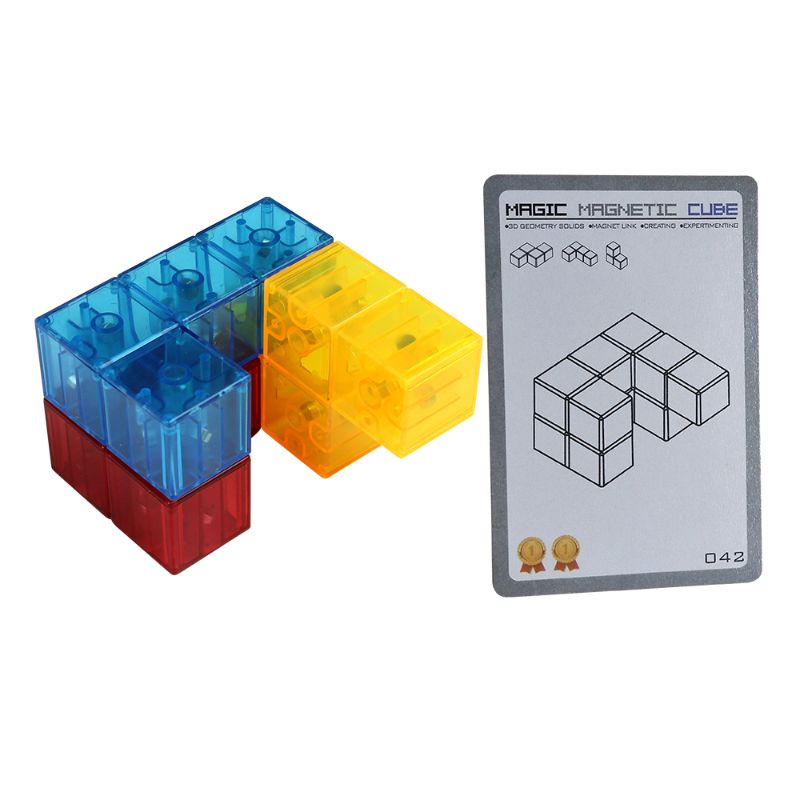 Magnetic Puzzle Twist Cube Stress Relief Building Blocks 54 Card Guide Funny Kid E65D