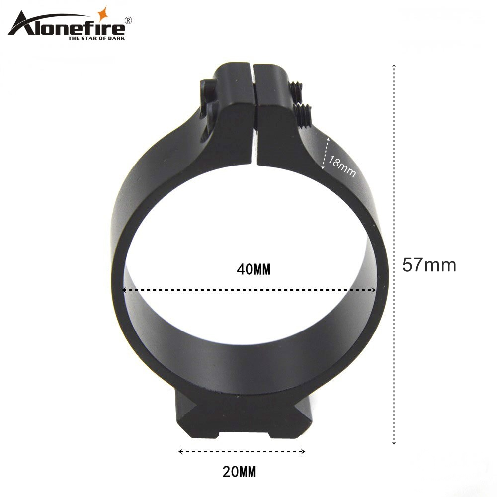 AloneFire 40mm Tactical Barrel Ring 20mm Sighting Telescope Clamp Mount Hunting Gun Flashlight Torch Laser Sight Holder - 1pc