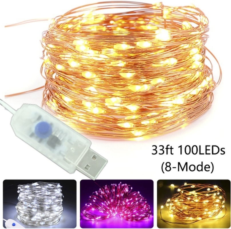 5M 10M Copper Silver Wire USB LED String lights Waterproof Holiday lighting For Fairy Christmas Wedding Party Decoration