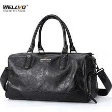 Black Men Travel Duffle Bags Waterproof PU Leather Handbags Shoulder Bag For Man Totes Large Capacity Hand Weekend Bag XA620ZC