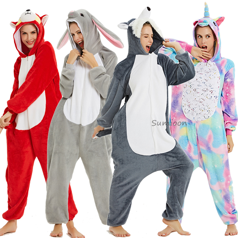New Unicorn Pajamas Onesie Women Kugurumi Panda Winter Flannel Pajama Kigurumi Adult Nightie Stitch Unicornio Sleepwear Overalls