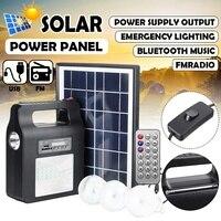 Panel de energía Solar generador Kit con Radio FM bombillas LED portátil al aire libre cargador USB casa sistema de iluminación por carga