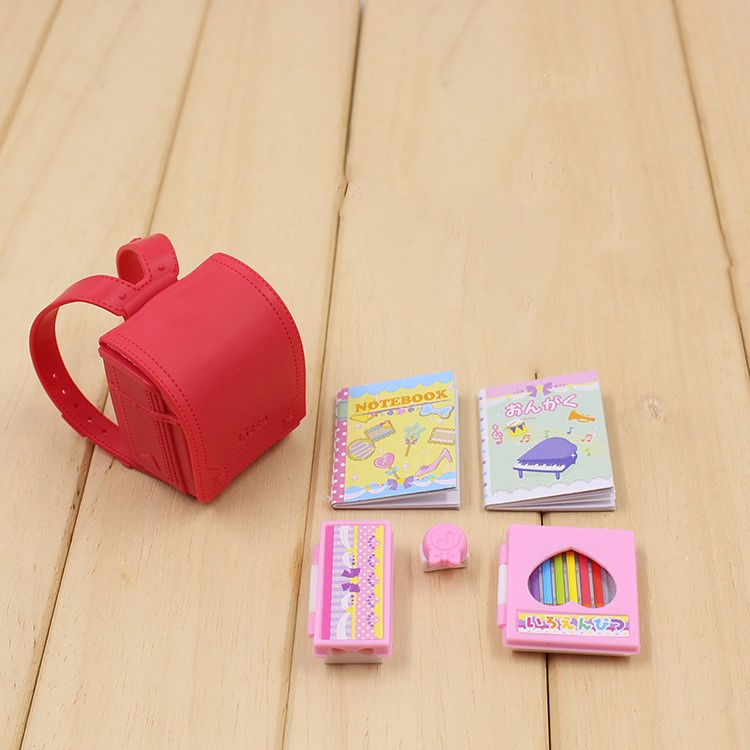 6pcs/lot Doll Backpack And School Supplies Books Original Doll Accessories For Licca Dollhouse Best Gift Toy For Girl