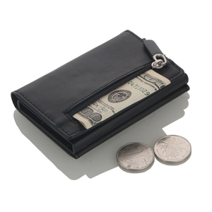 Image 2 - Cizicoco tarjetero de aluminio con caja de aluminio, billetera RFID de cuero PU, billetera Pop Up con imán de fibra de carbono, 2020