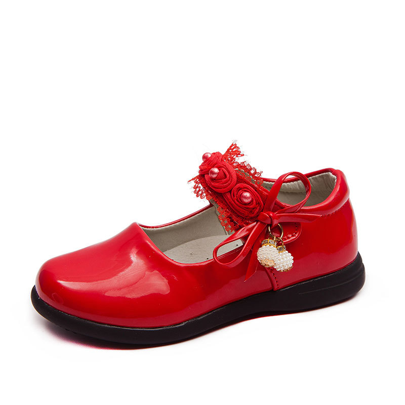 Fashion Bow Flower Princess Kids Leather Shoes For Little Girls Shoes New Children School Party Shoe 3 4 5 6 7 8 9 10 11 12 Year