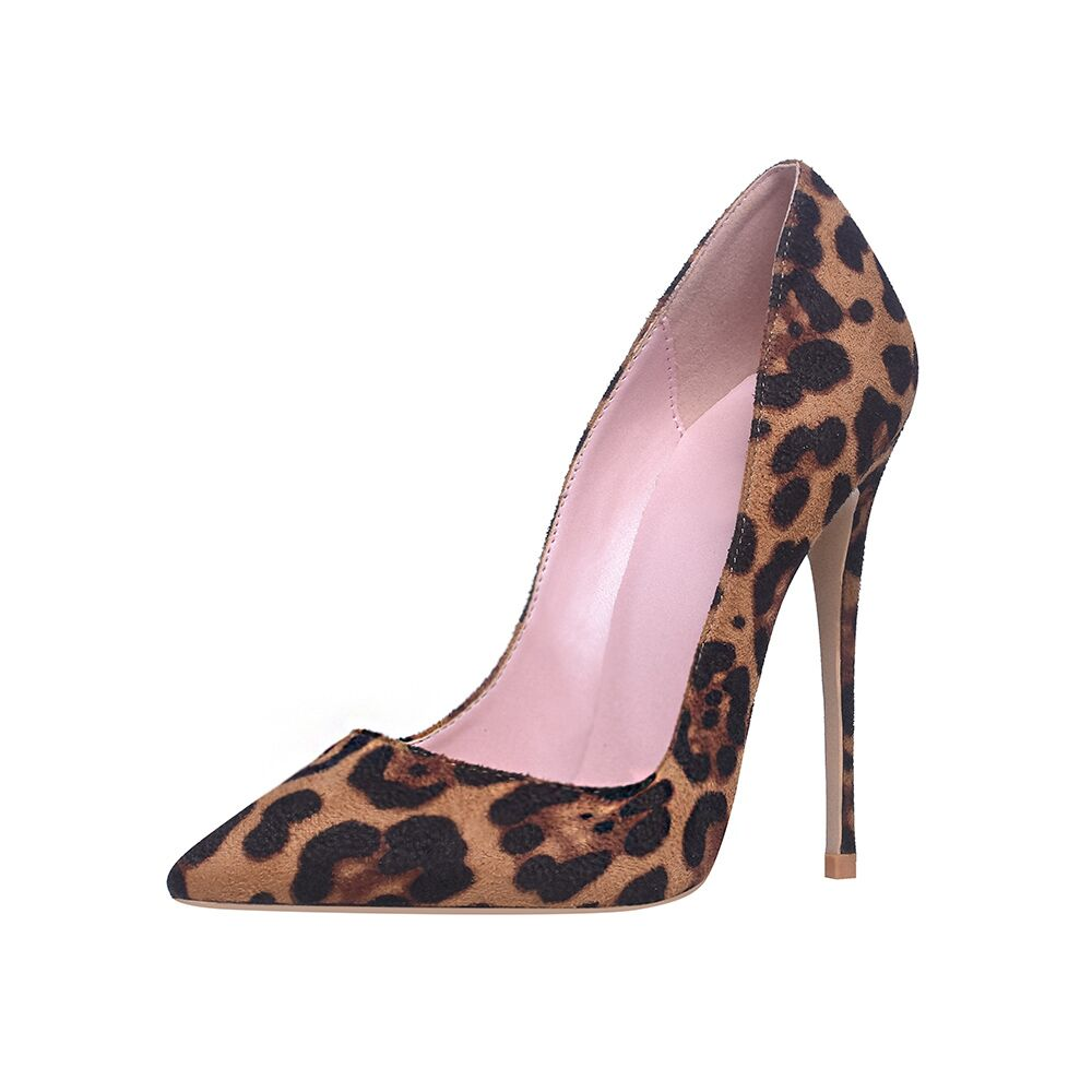 High Heels <font><b>Shoes</b></font> Women Pumps Flock Leopard Print <font><b>Sexy</b></font> Stilettos 10 12cm Party Heeled Designer <font><b>Shoes</b></font> Plus Big <font><b>Size</b></font> <font><b>11</b></font> 12 image