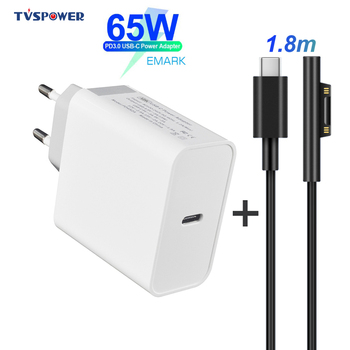 65W 45W PD Charger USB Type C Power Supply Laptop Adapter for Microsoft Surface Pro 6/5/4/3 Go Book Tablet 15V PD Charging Cable pd 15v usb type c charging cable adapter converter for microsoft surface pro 7 6 5 4 3 go book laptop 1 2 power charger adaptor