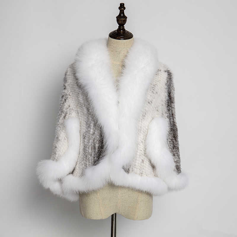 Giacca in pelle vera pelliccia di visone del cappotto di inverno 2019 naturale pelliccia di volpe bavero del cappotto poncho donne