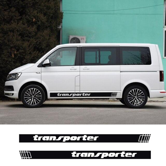 2 pçs listras laterais do carro adesivos auto vinil filme decoração decalques para volkswagen multivan t4 t5 t6 estilo do carro tuning acessórios