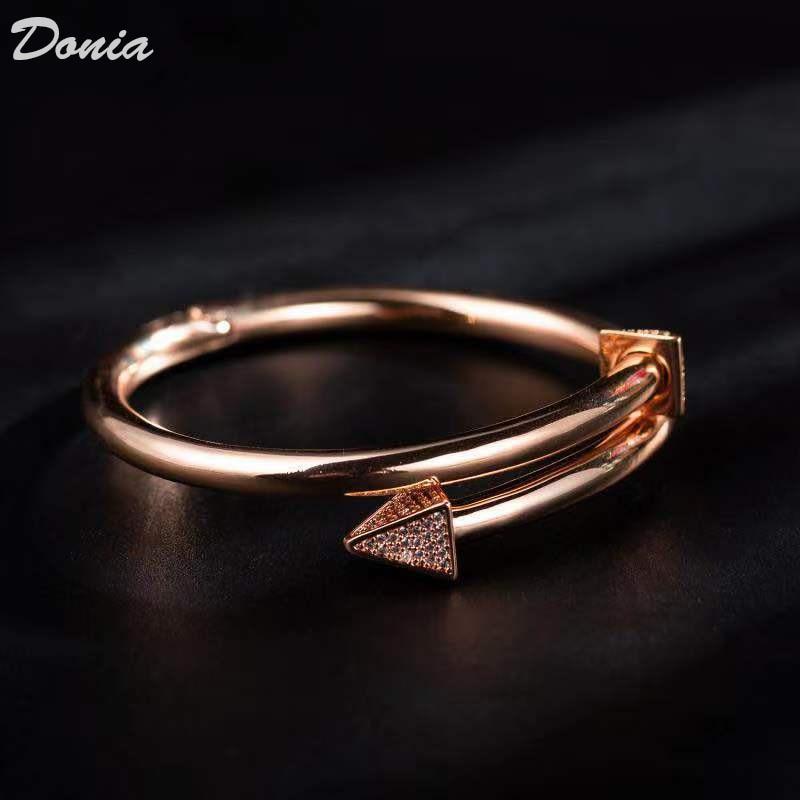 Image 3 - Ювелирные изделия donia Европейская и американская мода новый  женский браслет из розового золота AAA циркон браслет Модный Открытый  браслетЮвелирные наборы