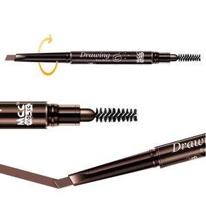 Новый 5-цветный двуглавый карандаш для бровей, натуральный водонепроницаемый Вращающийся автоматический треугольный карандаш для бровей с кисточкой, инструменты для красоты