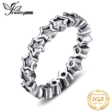 JPalace Star CZ Ring 925 Sterling Silver Rings for Women Stackable Ring Eternity Band Silver 925 Jewelry Fine Jewelry largerlof 925 silver ring women handmade bee ring fine jewelry silver 925 jewelry ring female rg45006