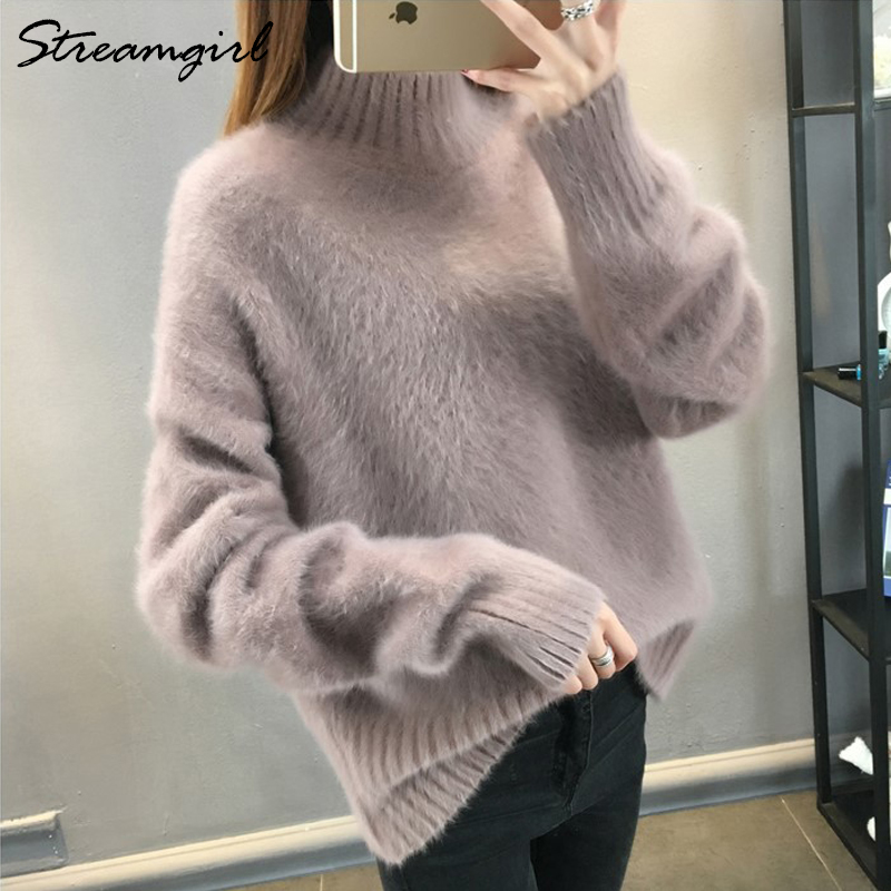 Winter Fluffy Sweater Women Jumper Loose Thick White Turtleneck Pull Femme Sweaters For Women Winter Knitted Sweater Woman 2020