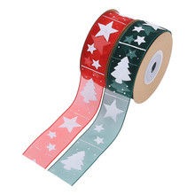 10meters/roll Organza Stain Christmas Printed Ribbon for Gift Box Bouquet Wrapping Hairbow DIY Supplies